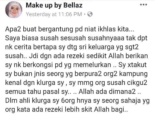 Kongsi Rezeki Ramadhan, MUA Bellaz Belanja Orang Kampung Barang Dapur!