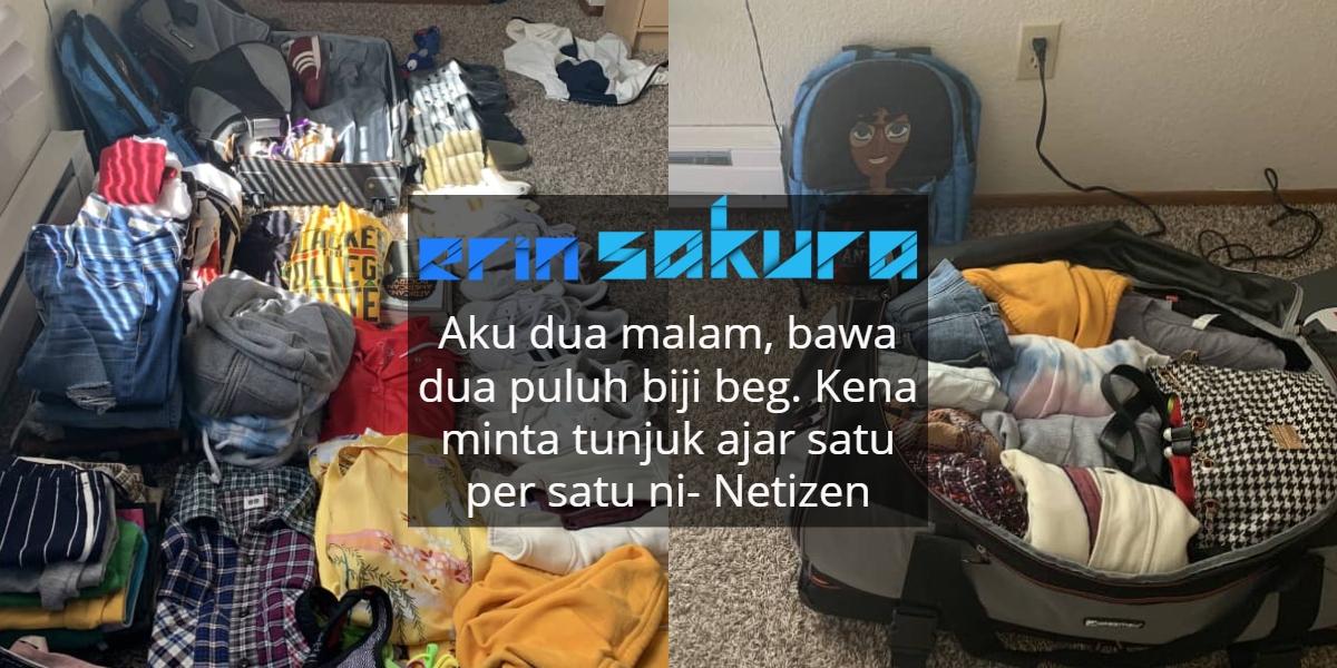 Sumbat 50 Pakaian & Kasut Dalam Satu Beg, Netizen Minta Gadis Ini Kongsi Rahsia