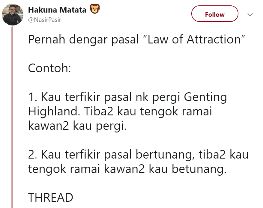 Pernah Terfikir Benda Sama, Ini Realiti Law Of Attraction Yang Ramai Tak Tahu