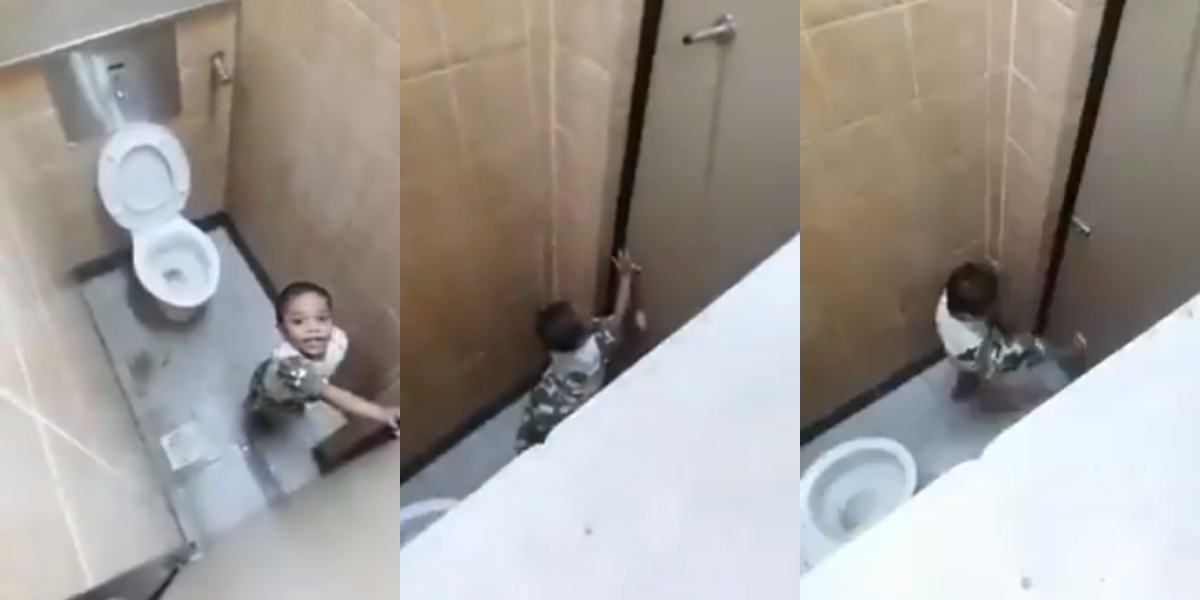 [VIDEO] Viral Budak Terkurung Dalam Tandas Panggil Ayah, Bersilat Buka Pintu!