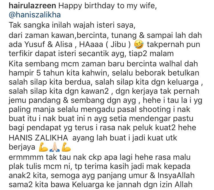 """Tak Sangka Inilah Wajah Isteri Saya"" – Wish Birthday Hairul Buat Hanis Sweet!"