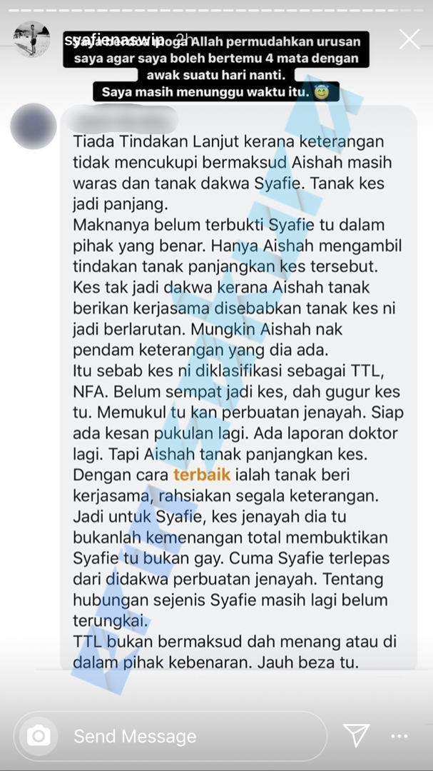 Nama Tercalar Kerana Fitnah, Syafie Naswip Enggan Beri Kemaafan Pada Si Pelaku