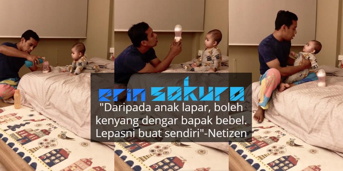 [VIDEO] Asyik Nangis Tak Menyabar, Bapa Ini Gigih Ajar Bayinya Cara Bancuh Susu