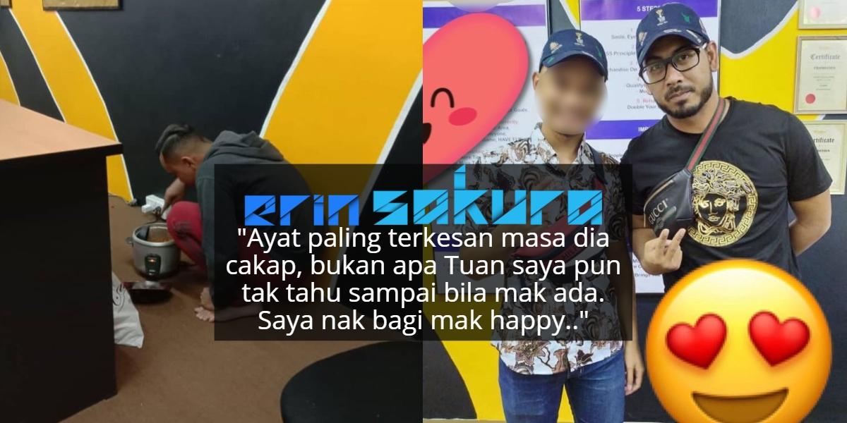 Rela Ikat Perut & Masak Nasi Di Lantai Office, Rupanya Nak Bahagiakan Ibu..