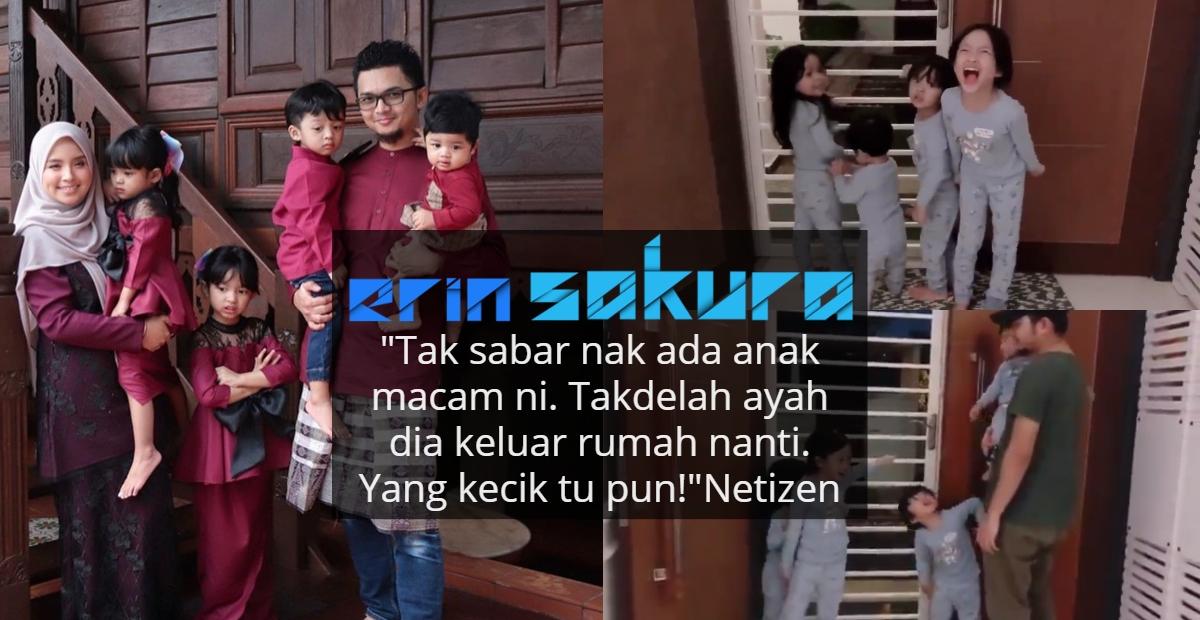 [VIDEO] Gigih Larang Ayah Keluar Rumah, Lihat Taktik Comel 4 'Ketul' Budak Ini