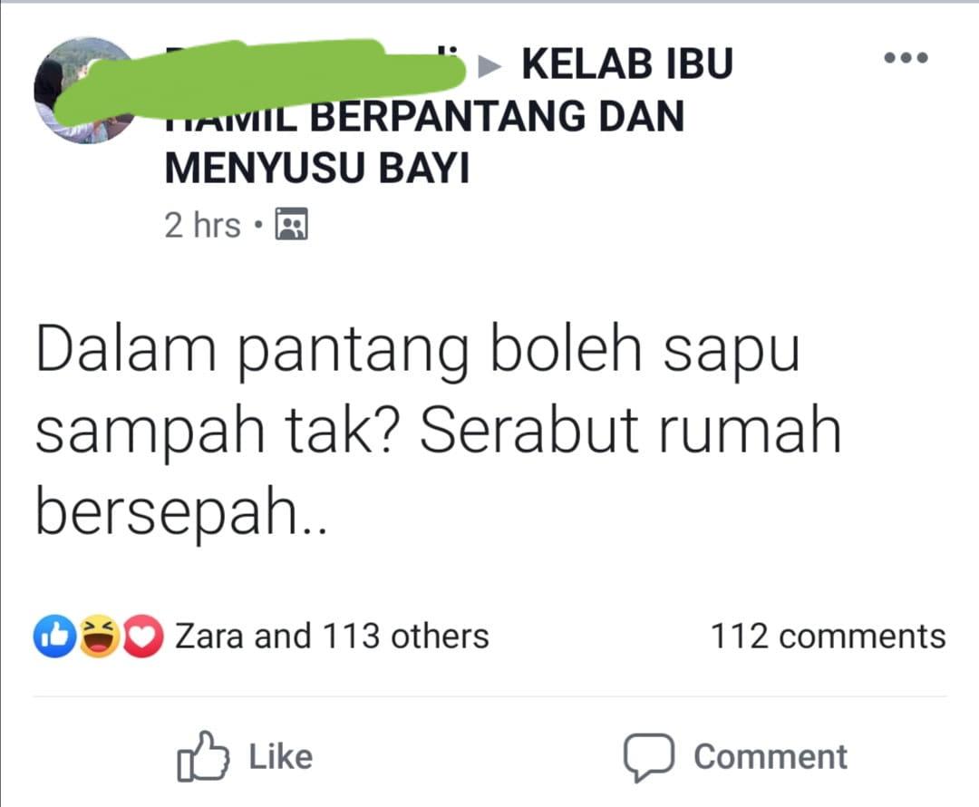 Padah Menyapu & Beria Sental Tandas Masa Berpantang, Wanita Ini Cemas Bila..