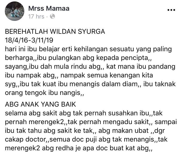 """Abang Tinggal Semua..""–Ibu Sebak Anak Hidap Kanser Otak Tahap 4 Akhirnya Pergi"