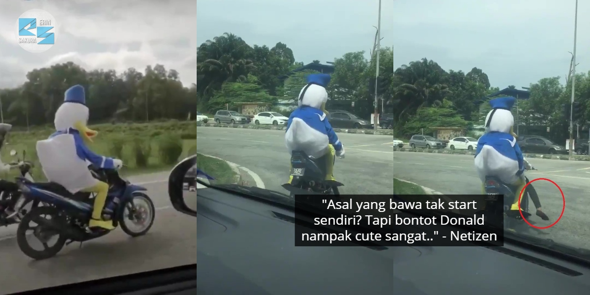 Viral Gelagat Donald Duck Start Motor, Tapi Kelibat Kaki Gadis Cetus Persoalan