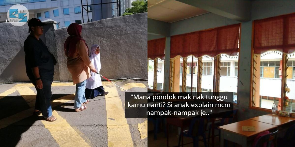 """""""Sini La Mak.."""" – Ragam Murid Pimpin Ibu Bapa Buta Di Sekolah Baru Undang Sebak"""