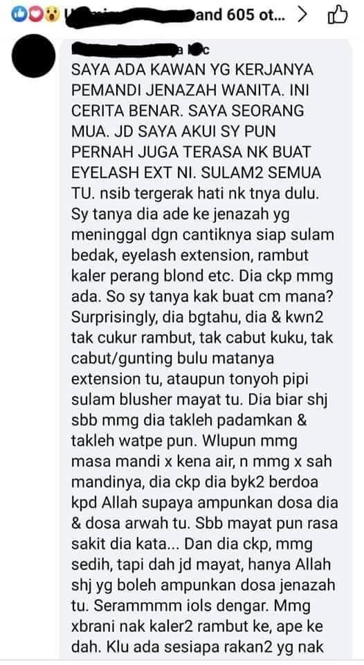 Temui Ajal Sewaktu Pakai Eyelash Extention, Wanita Kongsi Susah Mandikan Jasad