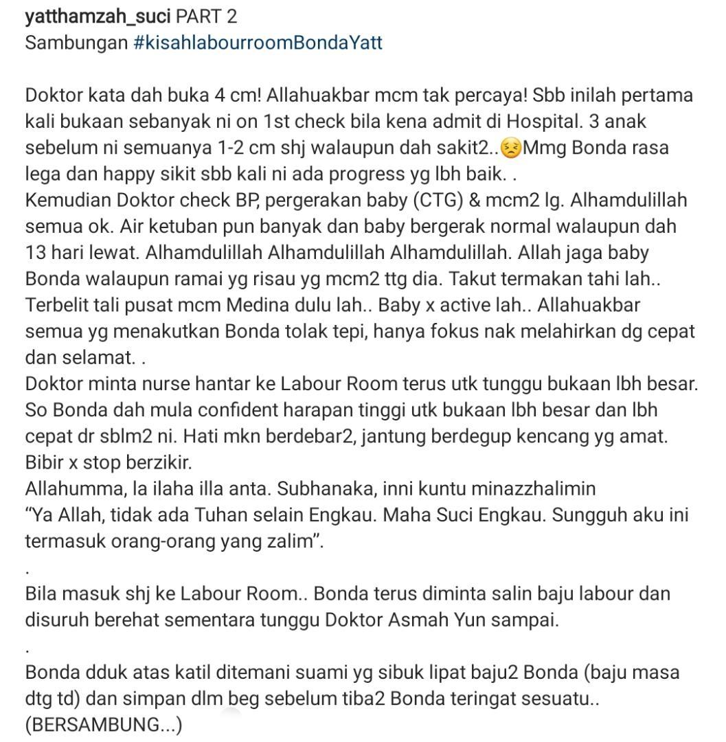 """""""Overdue 13 Hari, Pecah Peranakan""""-Yatt Hamzah Kongsi Perit Bersalin Anak Ke-4"""