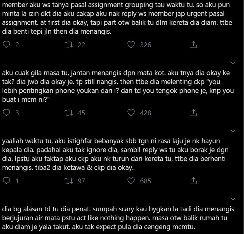 """""""Nangis Tepi Highway..""""-Gadis Kongsi Kisah Seram 'Terciduk' Dengan Lelaki Psiko"""