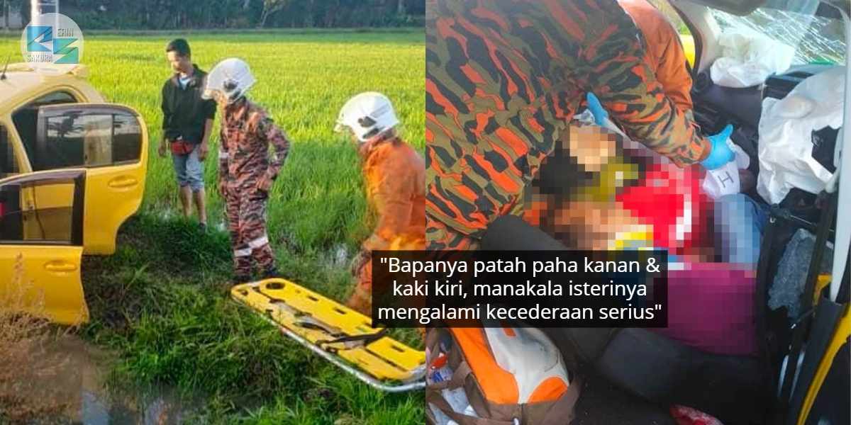 Tragedi Kereta Masuk Parit Sawah, Bayi Ajal Lepas Tercampak Dari Pangkuan Ibu