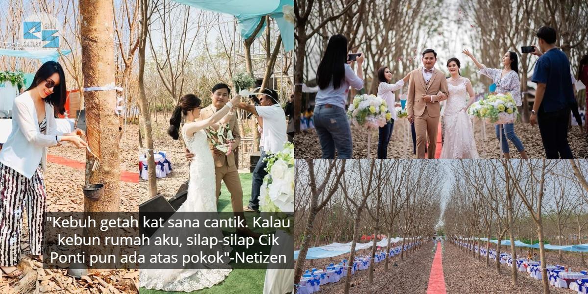 [FOTO] Pengantin Nekad Kahwin Dalam Kebun Getah, Netizen Pula Risau Benda Lain