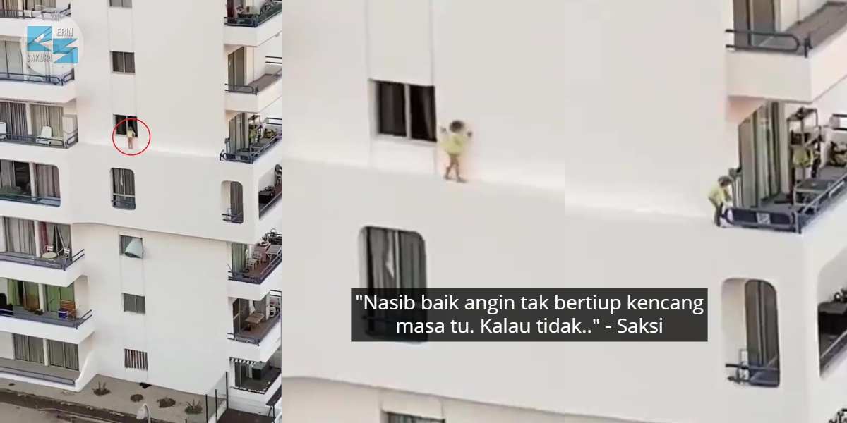 [VIDEO] Budak Dirakam Selamba Lari Tebing Apartmen, Tersilap Langkah Bawa Padah