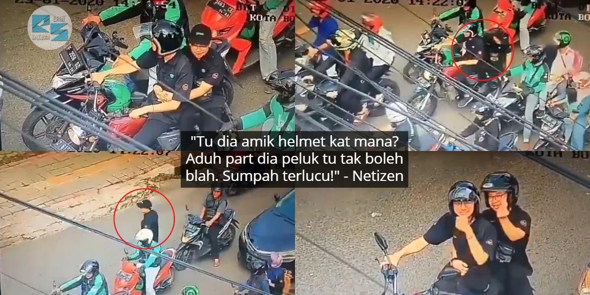 Naik Motor Tak Pakai Helmet, Tak Sangka 2 Lelaki Ditegur Dengan Cara Paling Win
