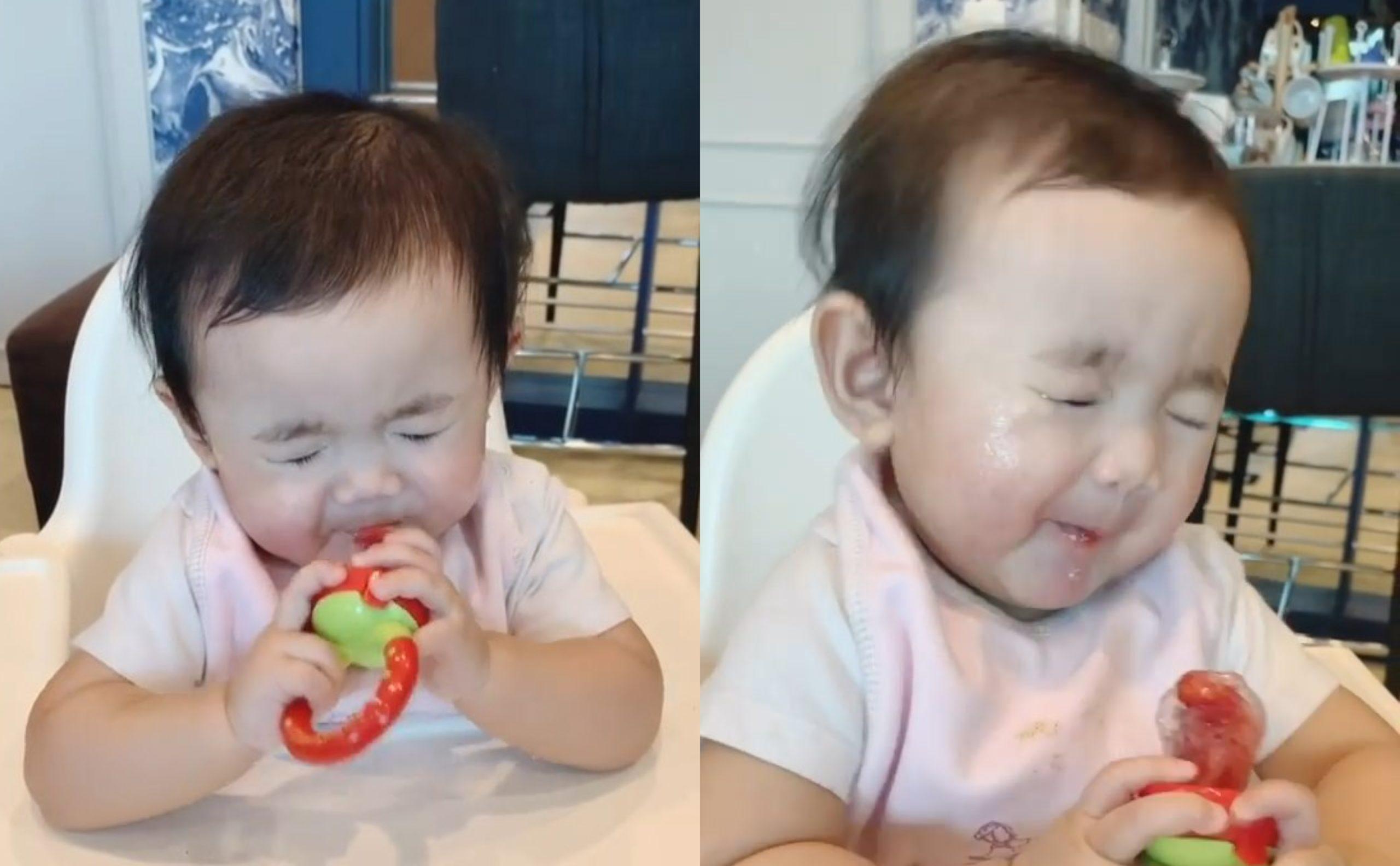 [VIDEO] Muka Berkerut Makan Buah Masam, Reaksi Anak Hanis Zalikha Comel Habis