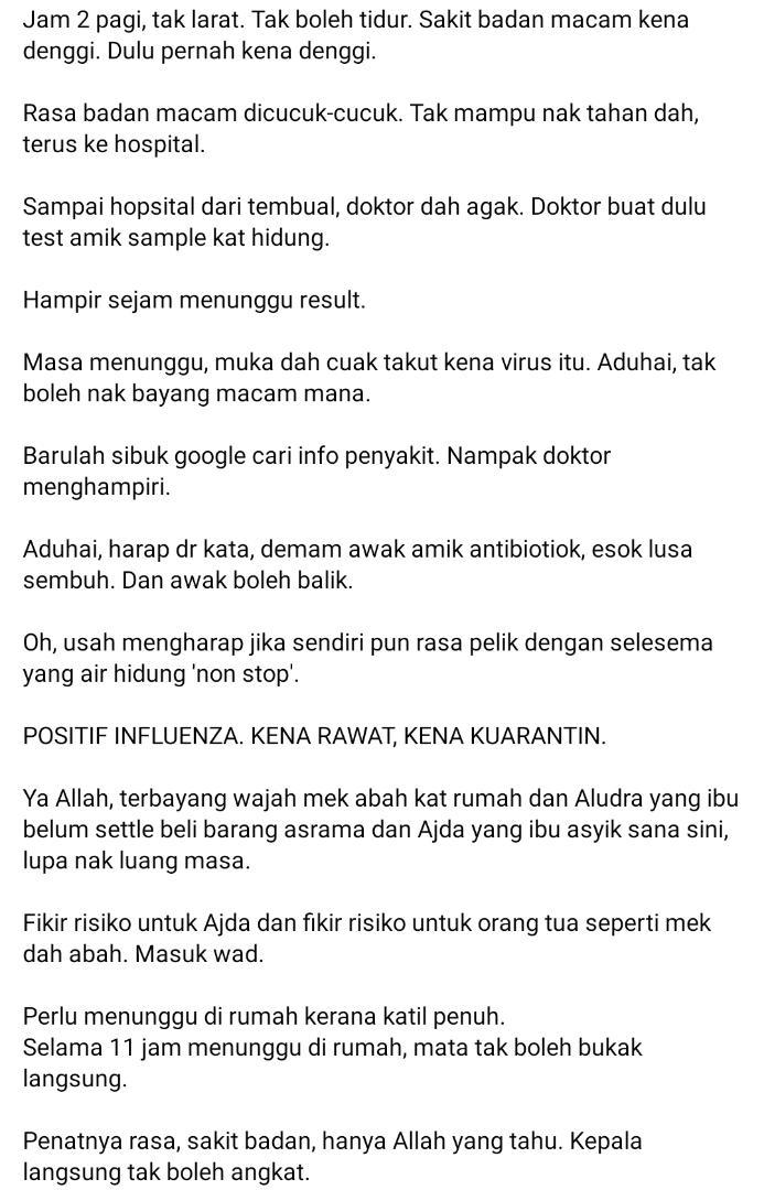 """""""Allah Tarik Nikmat Sihat""""-Wanita Dedah 5 Hari Mengerikan Terkena Influenza A"""