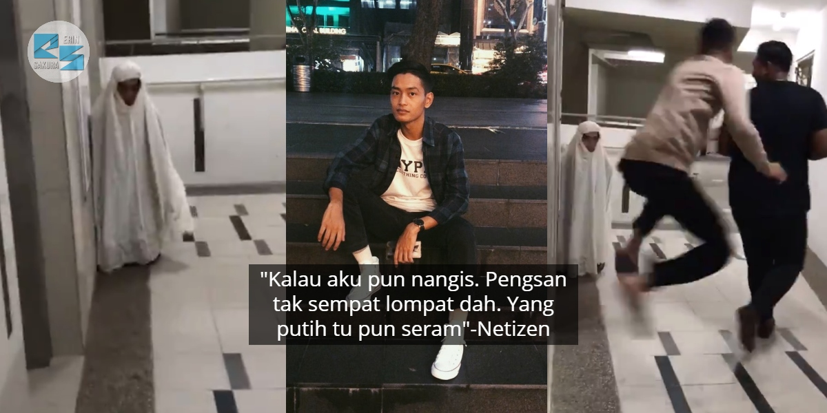 Pakai Telekung Untuk Prank Member, Tapi Netizen Seram Bila Fokus Muka 'Hantu'