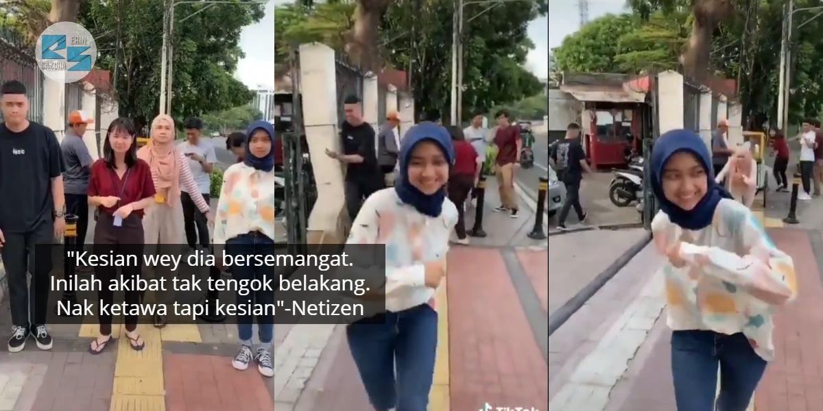 Bukan Main Gigih Buat TikTok, Gadis Tak Sedar Member Pakat Prank Tepi Jalan