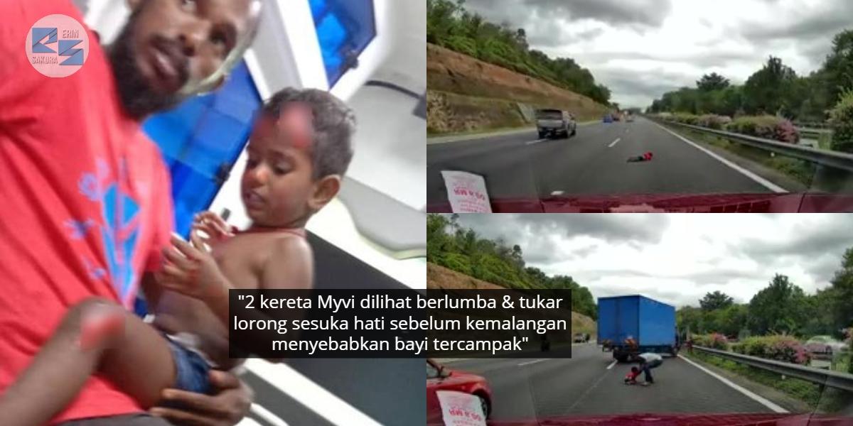 [VIDEO] Kereta Dirempuh Pelumba Haram, Punca Bayi Tercampak Tengah Highway