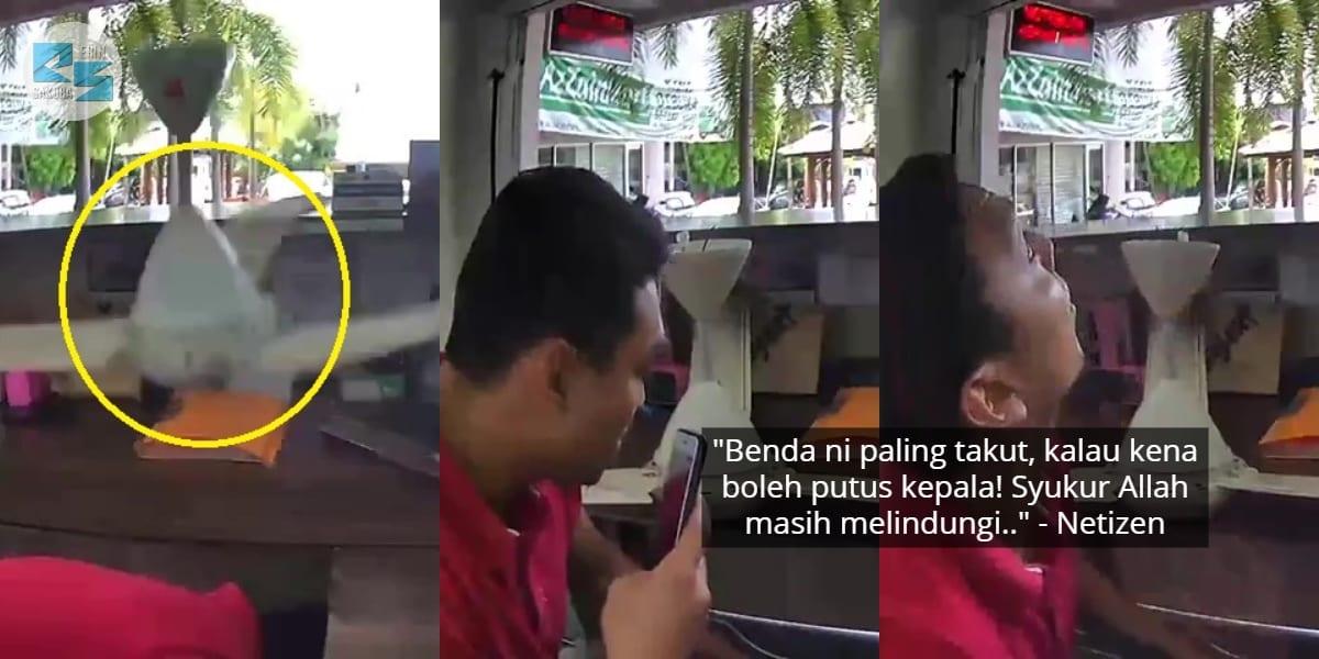 [VIDEO] Tertunduk Kutip Sticker, Kepala Lelaki Ini Nyaris Dihempap Kipas Jatuh