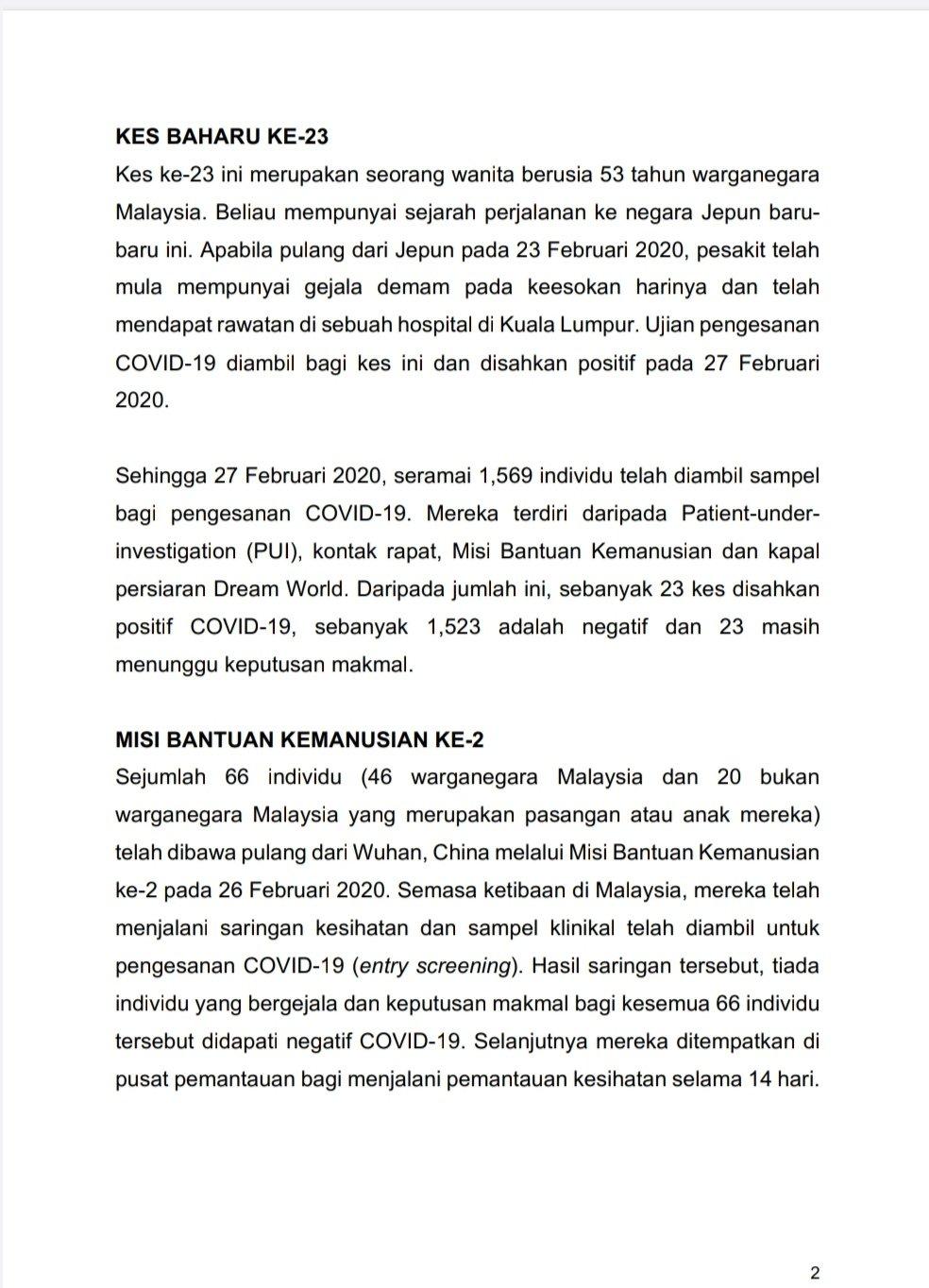 Malaysia Baru Nak Bebas Koronavirus, Namun Wanita Baru Balik Jepun Bawa Wabak