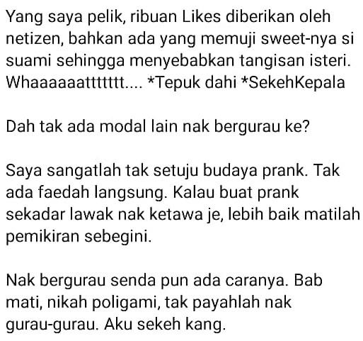 """Hati Isteri Tu Halus"" – Netizen Luah Tak Senang Suami Prank Mahu Kahwin 1 Lagi"