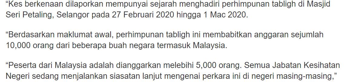 10,000 Tabligh Sertai Himpunan Mega, KKM Seru Yang Terlibat Buat Test Covid-19