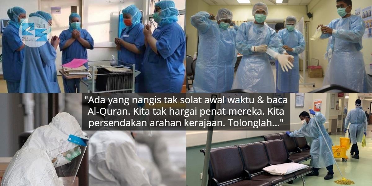 Petugas 'Frontliners' Kita Sudah Penat & Hampir Tumbang, Cleaner Pun Menangis..