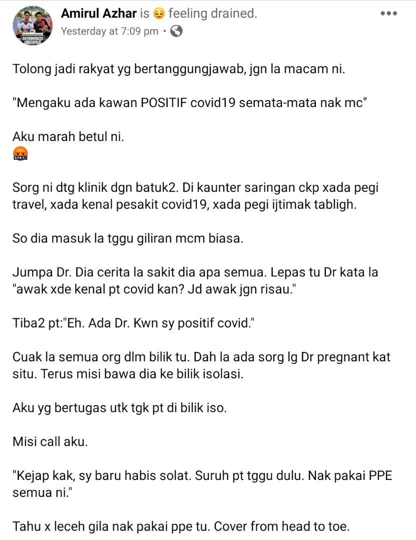 Sanggup Tipu COVID-19 Demi Dapat MC, Doktor Hilang Sabar Hadap Sikap Orang Awam