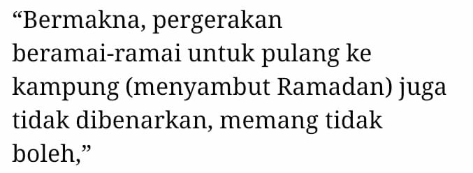 """""""Memang Tak Boleh…"""" – Puasa Mula Minggu Depan, Rakyat Dilarang Balik Kampung"""