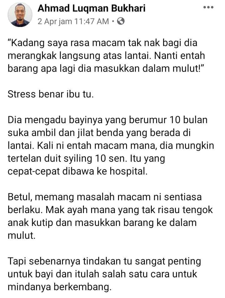 Paranoid Anak Merangkak Kutip Benda Masuk Mulut, Mak-Mak Tak Usah Risau Sebab..