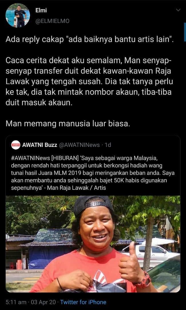 Tak Cukup Derma RM50,000, Man Senyap-Senyap Transfer Duit Sedekah Rakan Artis