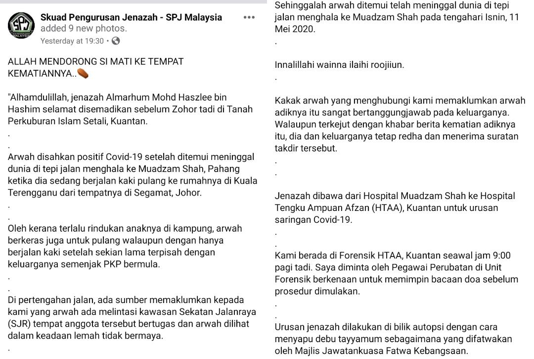 Jalan Kaki Johor-Terengganu Demi Anak, Pak Guard Hidap COVID-19 Temui Ajal