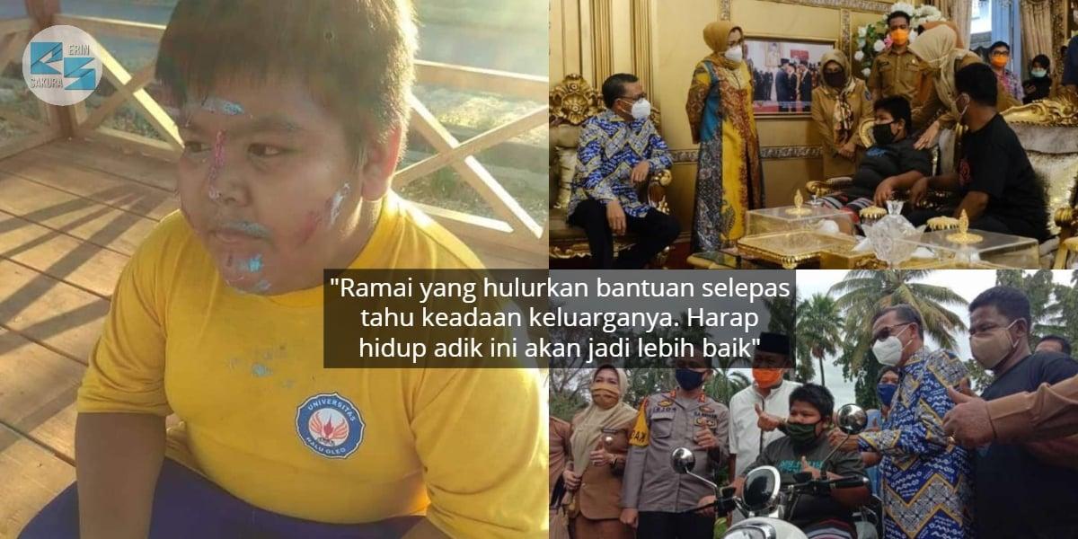 Viral Ditolak Samseng, Budak Penjual Kuih Kini Dapat Biasiswa & Motosikal Baru