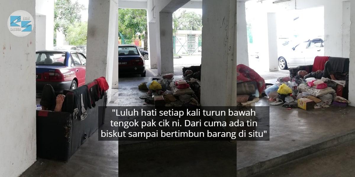 Tak Ada Siapa Berani Dekat, Pak Cik Tua Hidup Daif Setahun Lebih Di Parking PPR
