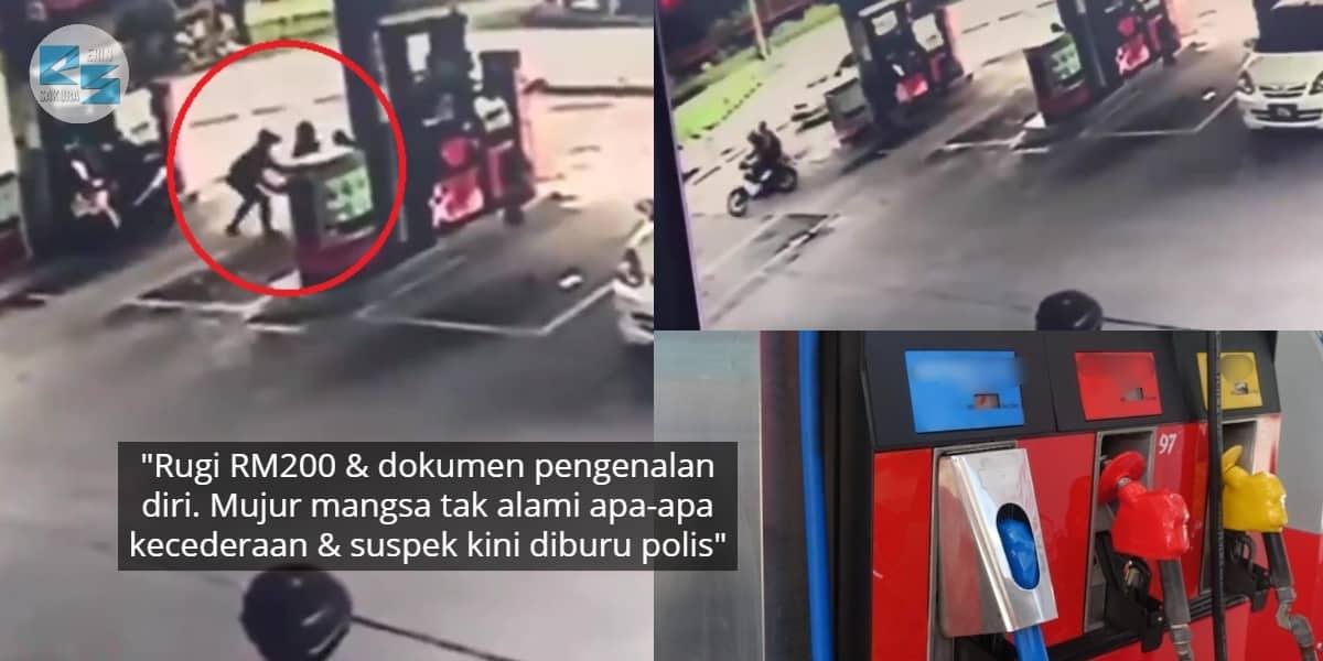 [VIDEO] Acah Isi Minyak Motor Di Sebelah, Warga Emas Panik Beg Diragut 2 Lelaki