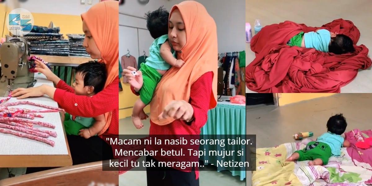 [VIDEO] Ibu Sibuk Urus Tempahan Baju, Tapi Anak Cuit Tumpuan Sentiasa Behave