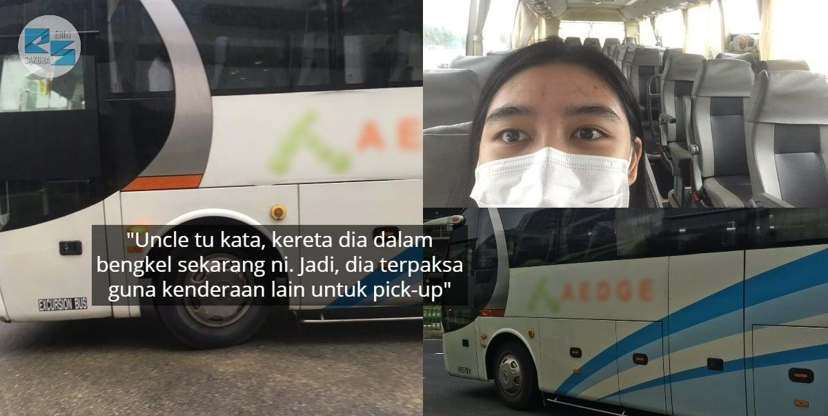Nak Balik Rumah Cepat, Sekali Gadis Terkejut Pemandu E-Hailing Pick-Up Guna Bas