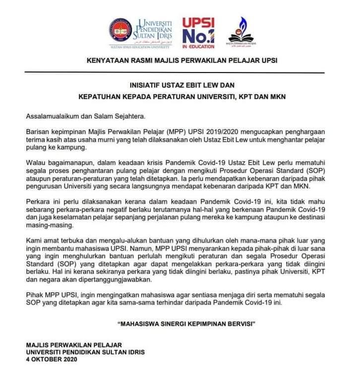 Bantu Pelajar Balik Naik Bas, Ebit Lew Minta Maaf Lepas Ditegur Pihak IPT