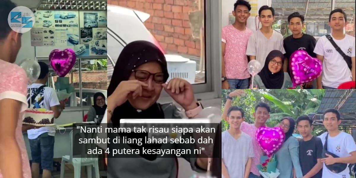 Tak Pernah Duduk Serumah, Ibu Nangis 4 Anak Lelaki Berkumpul Sambut Hari Jadi
