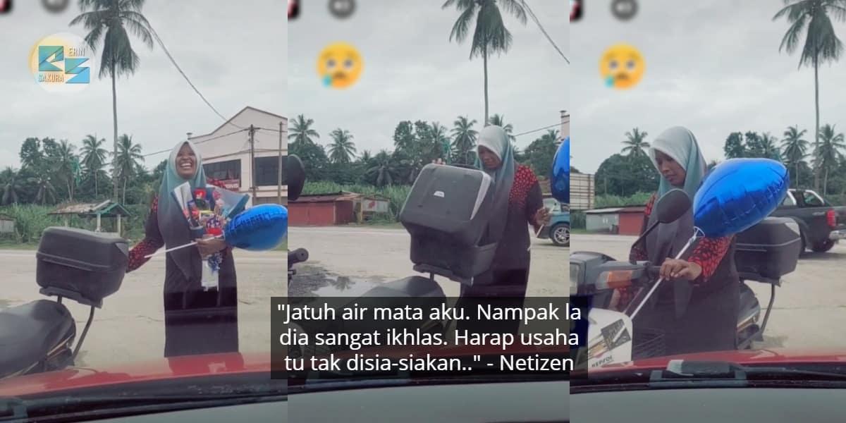 Ambil Hadiah Suami Naik Motor Je, Tapi Netizen Perasan Sesuatu Pada Wanita Ni