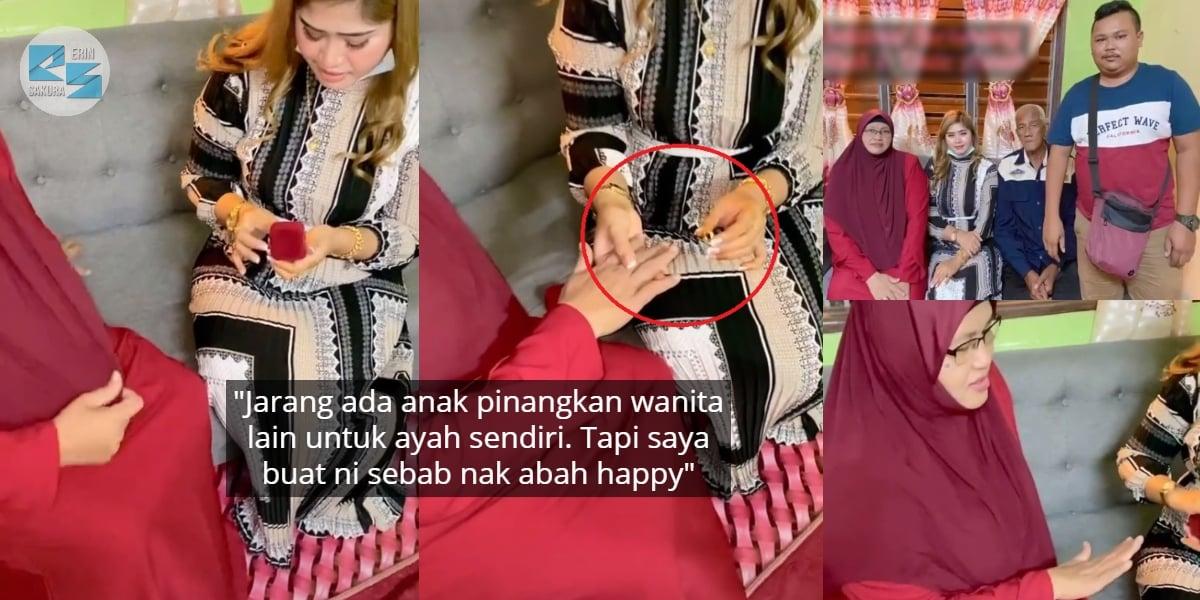 [VIDEO] Anak Wakilkan Abah Bertunang, Sudi Sarung Cincin Buat Bakal Ibu Baru..