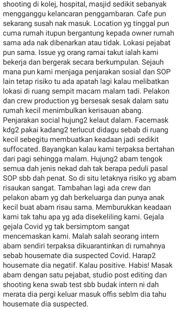 """Intern Kuarantin""- Risiko Kluster Baru, Penerbit Tak Kisah Stop Shooting Drama"