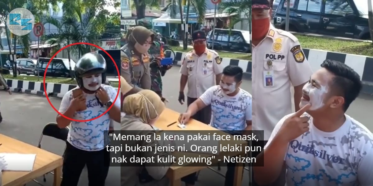 Cuak Kena Tahan Polis, Lelaki Sanggup 'Tepek' Krim Jadi Pengganti Face Mask