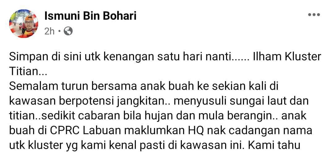 Cari Kayu Sambung Titi, Frontliners Dedah Ilham Sebalik Nama Kluster Di Sabah
