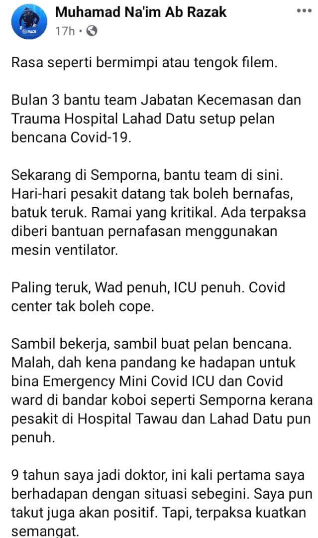 """Mimpi Ngeri Berulang, Frontliner Dedahkan COVID-19 Di Sabah -""""ICU Dah Penuh"""""""