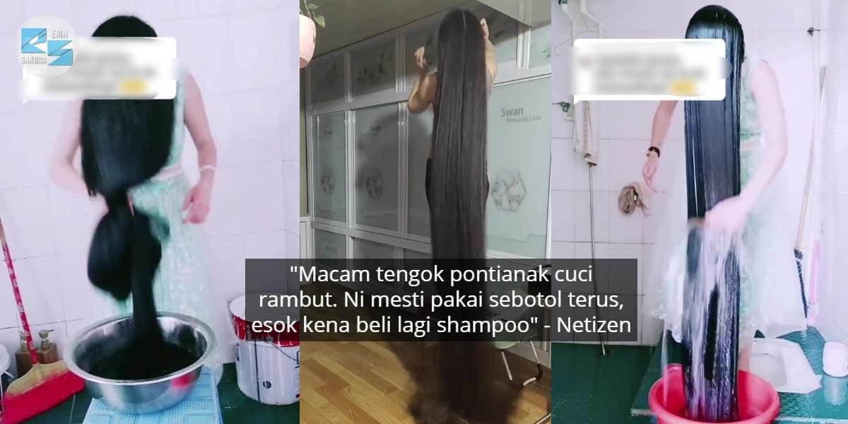 """[VIDEO] """"Rapunzel Real Life""""- Raih 8 Juta Views, Wanita Dedah Cara Basuh Rambut"""