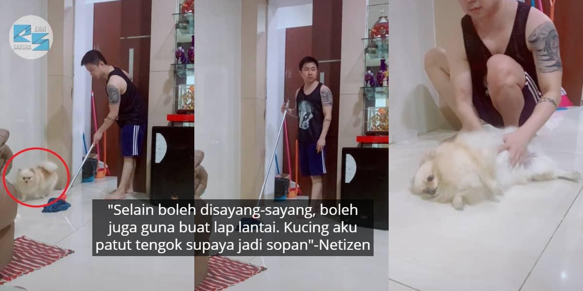 [VIDEO] Pijak Lantai Yang Tuannya Siap Mop, Anjing Pasrah Dijadikan Kain Buruk